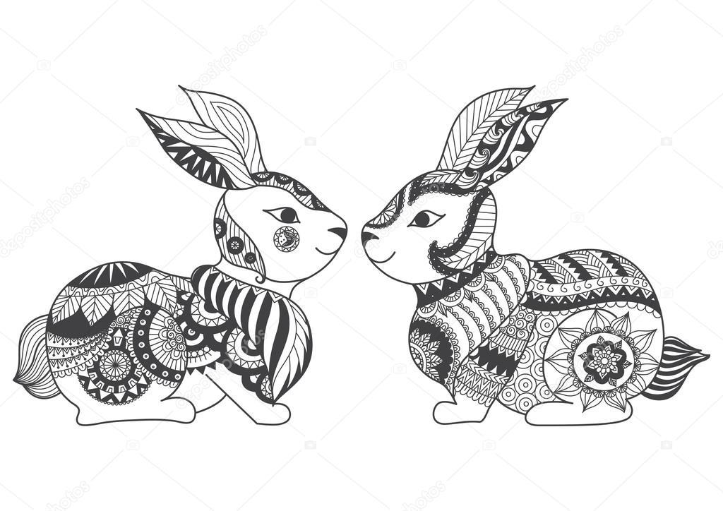 Dos Conejos Zentangle Estilizada Para Colorear Libro Para