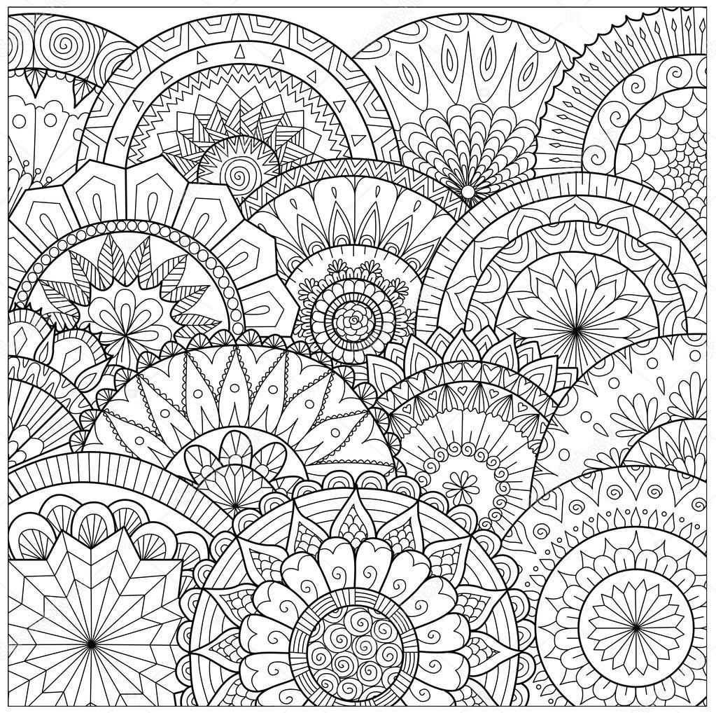 Flores Y Mandalas Lnea De Arte Para Colorear Libro Para Adultos Cartas Y Otras Decoraciones