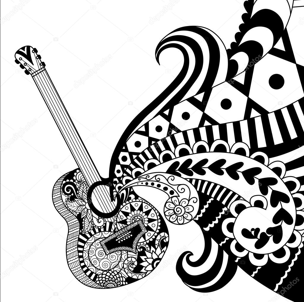 Doodle design of guitar for adult coloring pages — Stock ...