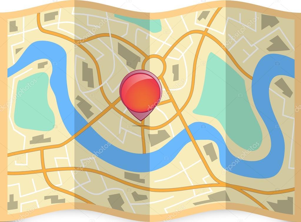 折叠城市地图与针 — 图库矢量图像08