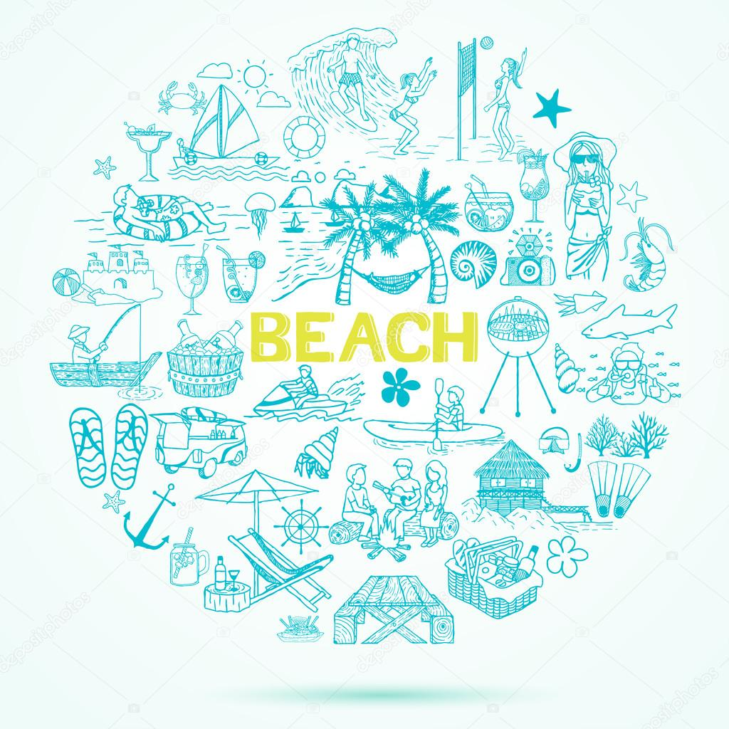 Gmail beach theme pictures - Beach Theme Doodle Set Vector By Somjaicindy Gmail Com