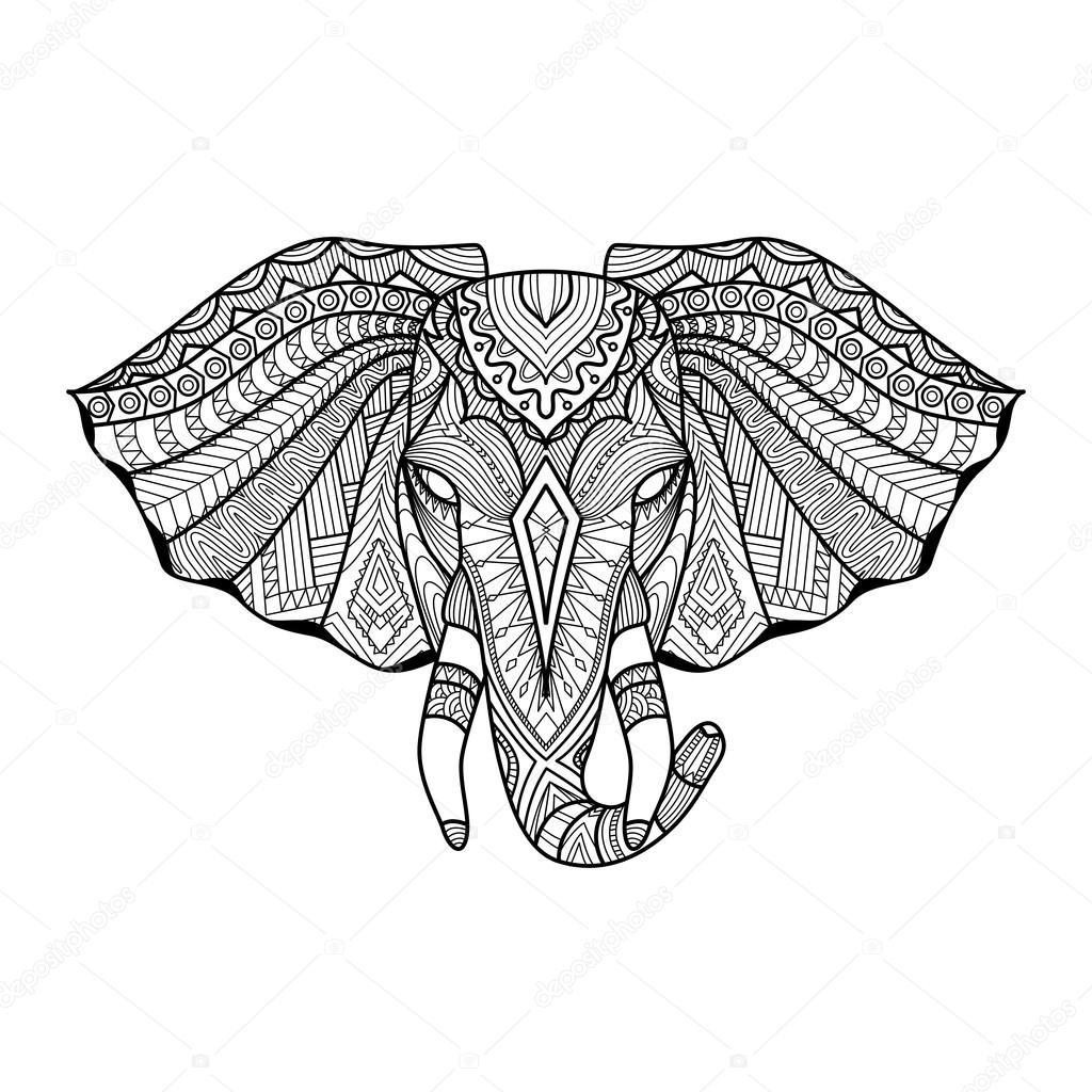 D Line Drawings Logo : Elephant ethnique unique dessin la tête pour imprimer