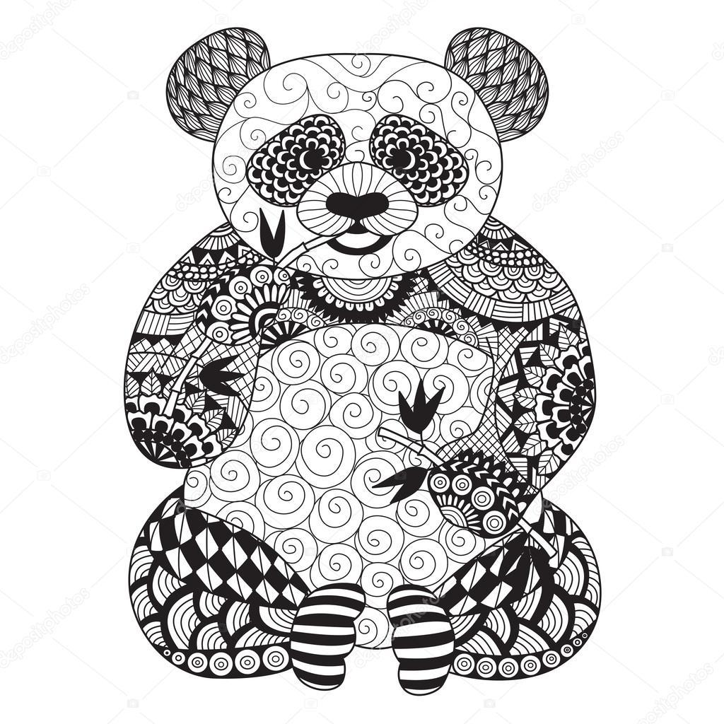 Mano Dibujada Zentangle Panda Para Colorear Libro Para
