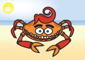 Crab on the beach — Stock Vector