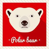 Vector portrait of a  polar bear. Symmetrical portraits of animals. Vector Illustration, greeting card, poster. Icon. Animal face. Font inscription. Image of a bear's face. — Stock Vector
