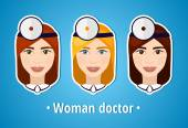 Set of vector illustrations of a woman doctor. Doctor. The girl's face. Icon. Flat icon. Minimalism. — Stock Vector