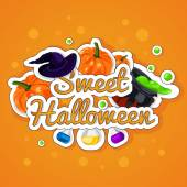 Sweet Halloween. Happy Halloween. Poster, postcard for Halloween. The holiday, pumpkins, witches cauldron, potion, bottles, chemical reaction, magic. — Stock Vector