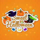 Süße Halloween. Fröhliches Halloween. Poster, Postkarte für Halloween. Urlaub, Kürbisse, Hexen, Kessel, trank, Flaschen, chemische Reaktion, Magie. — Stockvektor