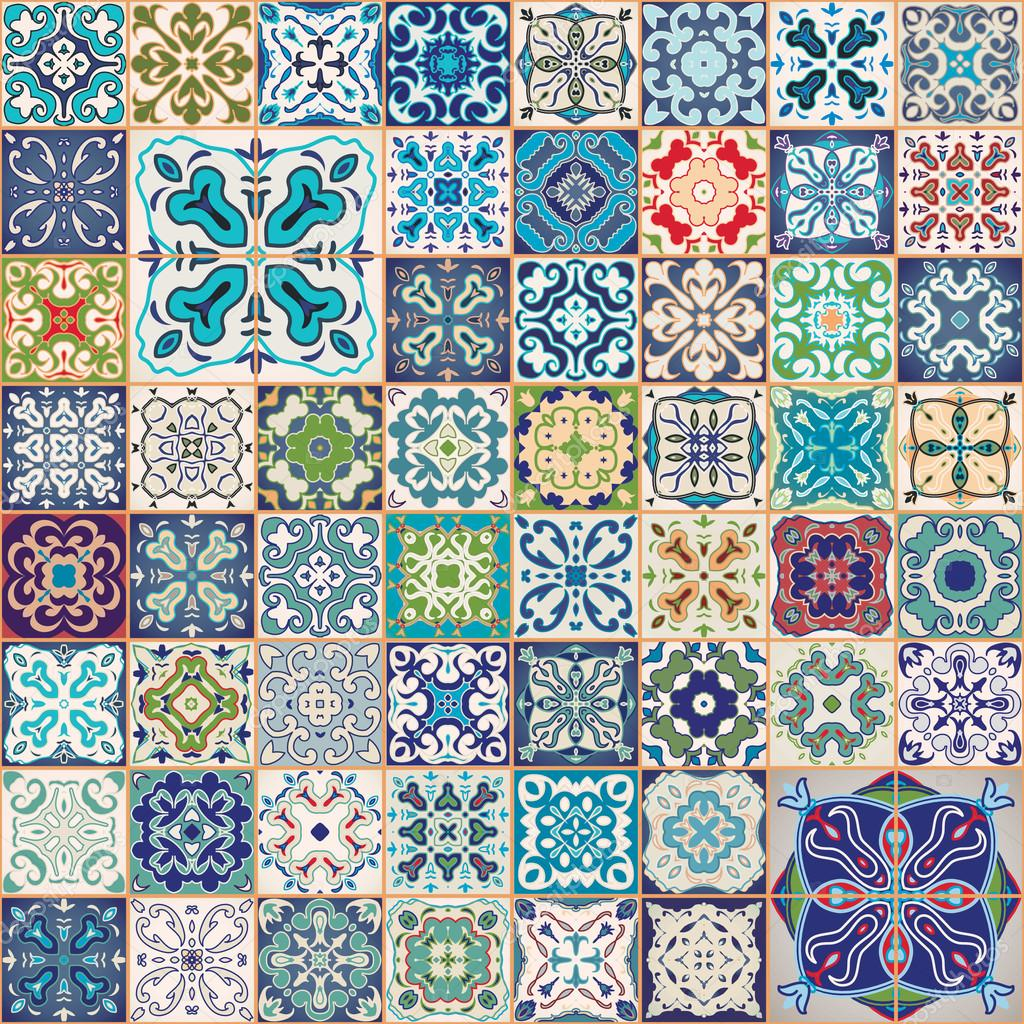 Gorgeous floral patchwork design colorful moroccan or mediterranean square t - Papier peint patchwork ...