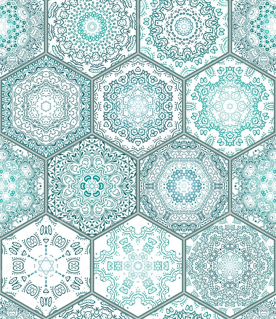 Blue Green Tiles Floor Ornament Collection Gorgeous