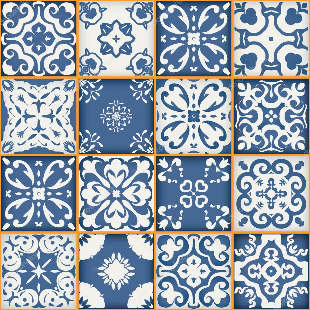 depositphotos 98510942 stock illustration gorgeous seamless patchwork pattern from - Behang Delfts Blauw