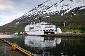 Ferry Smyril Line Norrona in a fjord in Iceland — Stock Photo
