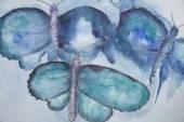 Flying turquoise butterflies — Stock Photo