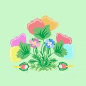 Bouquet imaginary flowers — Stock Vector