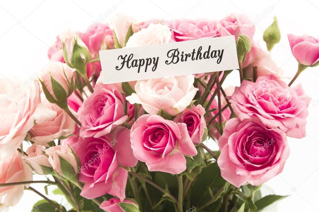 Cartolina di buon compleanno con il mazzo di rose rosa for Come costruire un mazzo di 2 piani