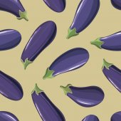 Seamless background with scattered ripe eggplant — Stock Vector
