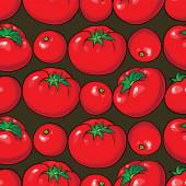 Vector seamless pattern with tomatoes — Stock Vector