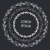 Round handdrawn wreaths. Collection of clip art vector frame bou — Stock Vector
