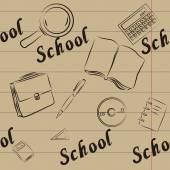 Seamless on a school theme. Retro — Stock Vector