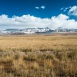 Tibetan highlands and distant snowy mountains near Daotanghe city — Stock Photo #78542436