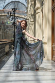 Playful young model in fashionable gauzy clothing — ストック写真
