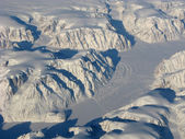 Aerial view of the Greenland snow rivers — Stock Photo
