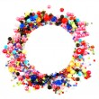 Colorful beads circle shape space for photo or text isolated on white background — Stock Photo #78576204