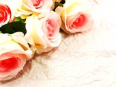Beautiful roses flower on paper texture background with filters color and space for copy — Stock Photo