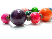 Colorful wood bead necklace — Stock Photo