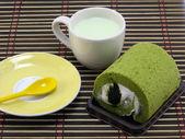 Pastel de rollo de té verde — Foto de Stock