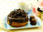 Donut-cronut with chocolate flavor selective focus delicious sweet dessert — Stock Photo