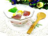 Fresh milk tofu with jelly and fruit — Stock Photo