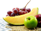 Fresh fruits mixed fruits background healthy eating dieting love fruits — Stock Photo