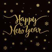 Ouro lettering design para cartão de feliz ano novo — Vetor de Stock