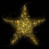 Gold glitter star of blinking stars — Stock Photo
