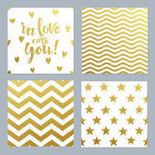 Greeting cards set of confetti gold glitter background — Stock Vector