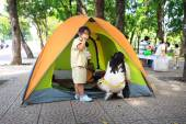 Hochiminh City, Vietnam - July 5, 2015: A weekly gatherings of unknown Scouts camping in a city park in HoChiMinh, Vietnam — Stock Photo