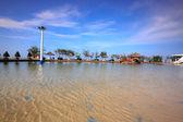 Cangio, Hochiminh City, Vietnam - June 28, 2015 - a saltwater pool in the tourist resort in cangio, Hochiminh City, Vietnam — Stock Photo