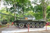 Hochiminh City, Vietnam - July 8, 2015: the first tank through the gates burst of the Independence Palace at the end of Vietnam War April 30th, 1975 at Ho Chi Minh City, Vietnam. After April 30, 1975 is known as Reunification Palace — Stock Photo