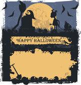 Cadılar Bayramı tebrik kartı ile gelecekteki cadı — Stok Vektör