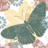 Elegantes Muster mit Schmetterling und Blumen Silhouetten — Stockvektor