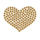 Herz aus Granulat von Braun Haustier (Hund oder Katze) Trockenfutter gesammelt — Stockfoto