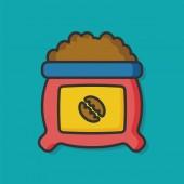 Coffee bean color line icon — Stock Vector