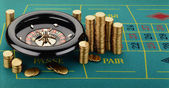Roulette with Casino Tokens (Fiches) — Stock Photo