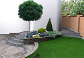 Landscaping garden stairs and plant groupings, 3D render — Stock Photo