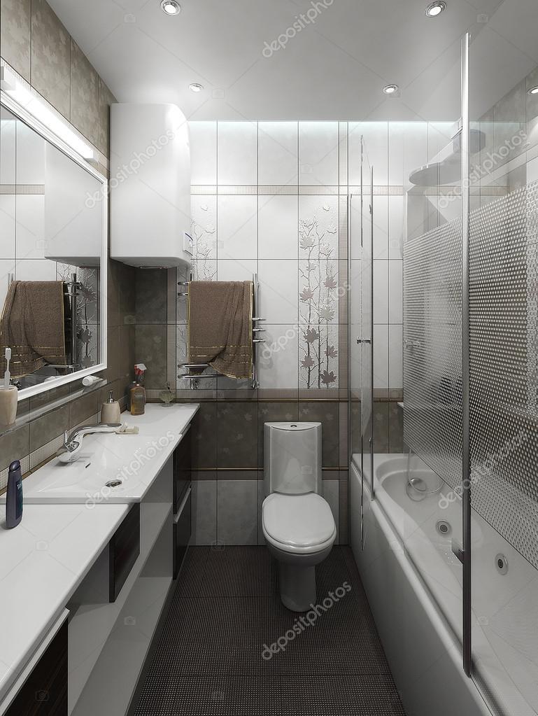 Badrum minimalistisk stil inredning och design, 3d-rendering ...
