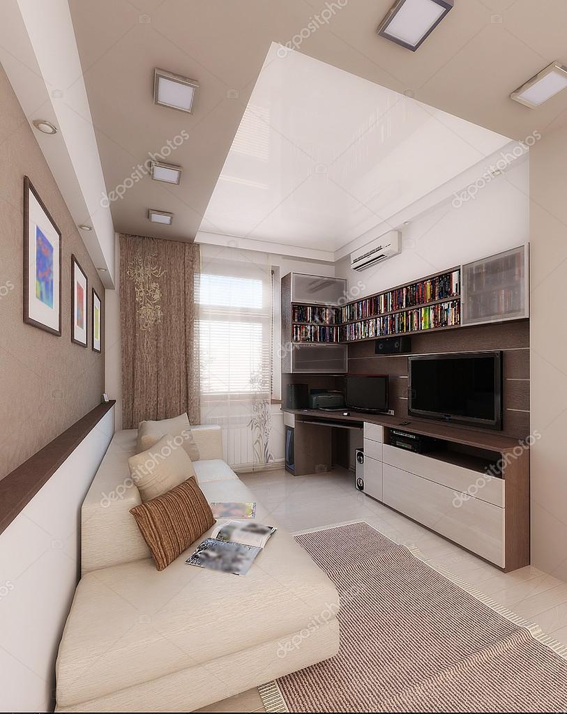 Jonge man slaapkamer, interieur design, 3d renderen — stockfoto ...