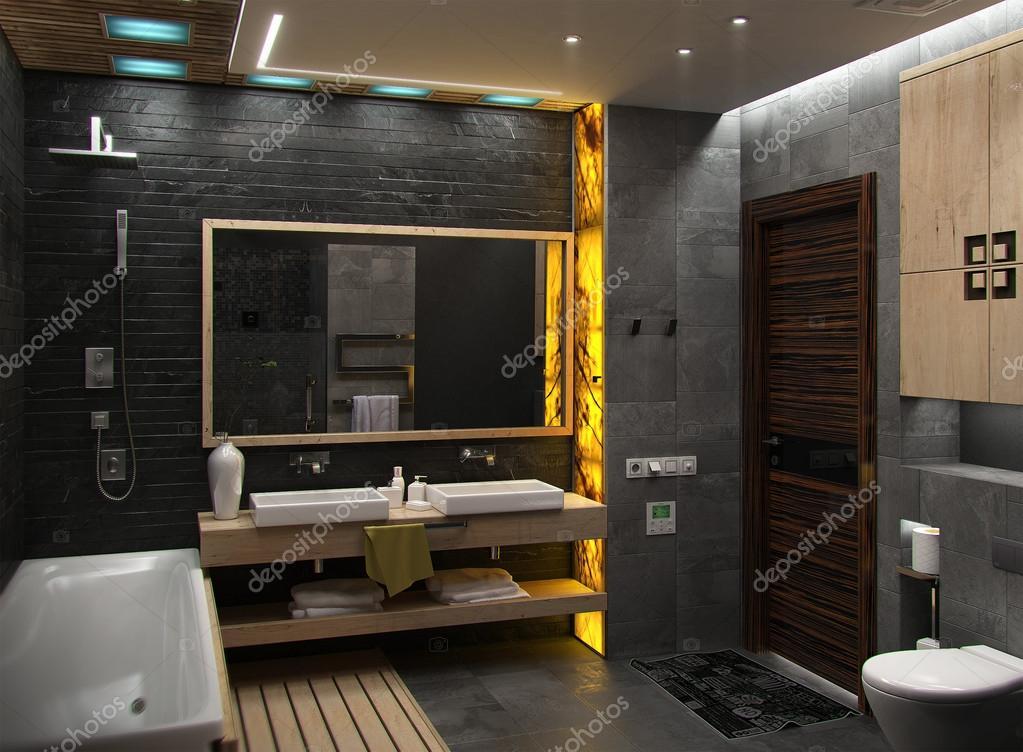 Badkamer Minimalistische Interieur Design, 3d Renderen ... Futuristische  Minimalistische ...