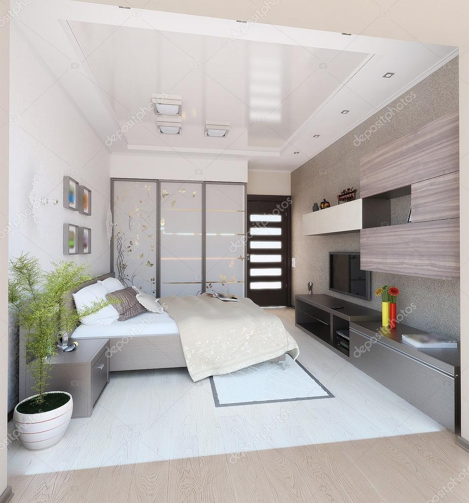 Camera da letto stile moderno interior design, rendering 3d — foto ...