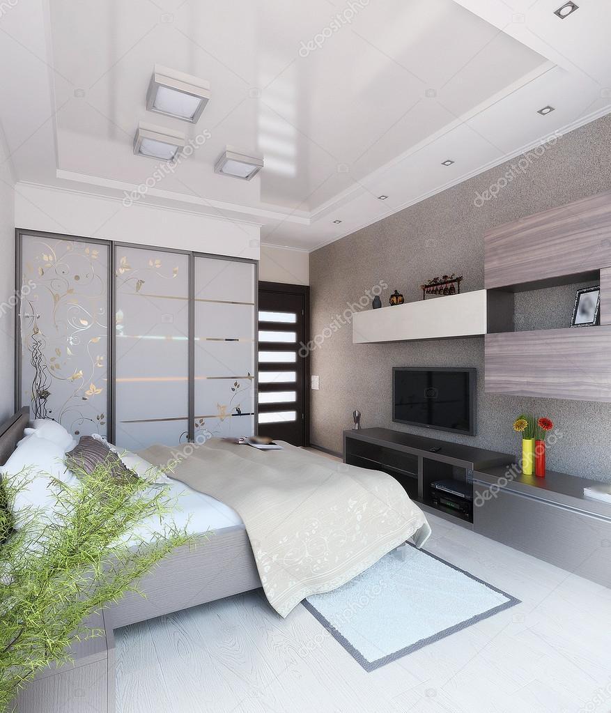 Sovrum modern stil inredning och design, 3d gör — stockfotografi ...